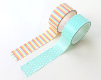 Set of 2 washi tapes. mint with polka dots & colorful stripes