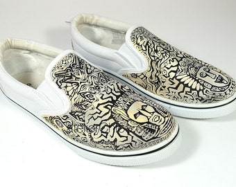 Aztec Canvas Shoes Boho Shoes Ethnic Shoes Tribal Shoes Ombre Vans Hand Painted Vans Custom Sneakers Womens Vans Mens Vans Slip On