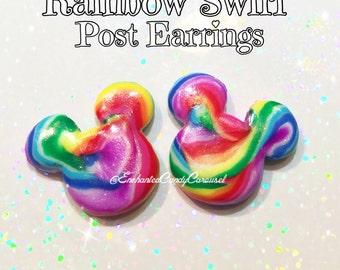 Mickey Rainbow Swirl Candy Lollipop Earrings Disney Disneyland Inspired