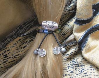 Beaded Ponytail Holder, Hair Elastic, Elastic Hair Tie, Beaded Hair Tie, Ponytail Elastic, Bohemian Hair Accessories, Yoga Hair Ties