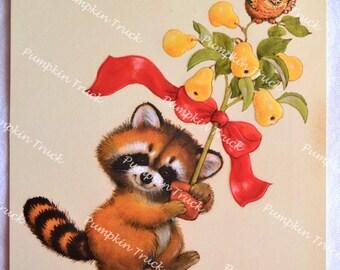 Vintage Christmas Card -  Raccoon Partridge Pear Tree - Used Hallmark for Repurpose
