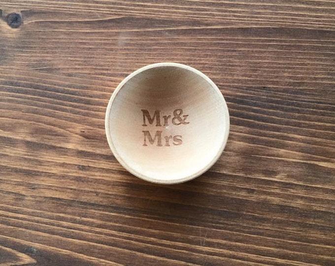 Mr & MRS Wedding Anniversary Wood Ring Bowl Dish Engraved