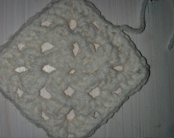 3 1/2 inch White Granny Squares 10 count