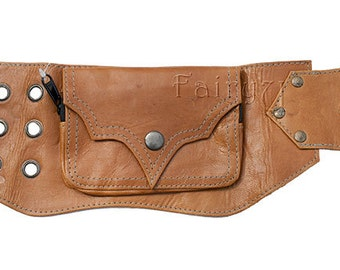 Leather utility belt bag steampunk festival belt with pockets - Inugami (0019)