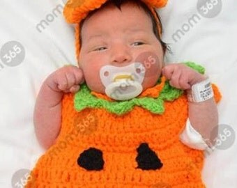 Crochet baby pumpkin costume set