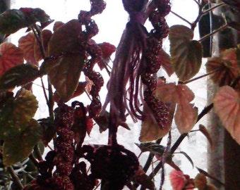 7 pièces décorations sapin de Noël, pendentifs tons bordeaux et fushia, en laine au crochet