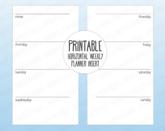 Printable personal planner inserts: Horizontal planner with notes | Weekly planner | Undated week on two pages | Instant Download