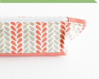 Pencil Case   Coral Make-up Bag   s/f Designs
