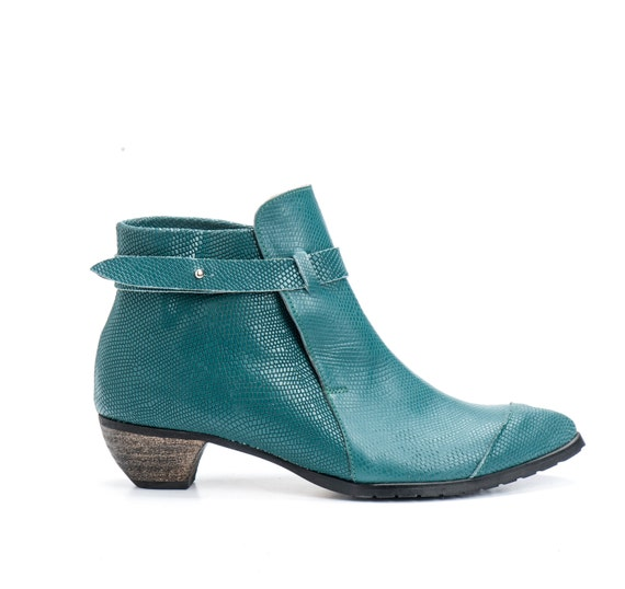 Blue Leather Booties / Women Leather Shoes / Lizard Pattern Leather Casual Boots / Designers Shoes / High Heels Winter Shoes - Tumarkin