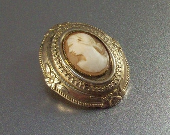Victorian Revival Cameo Brooch, 1960s Ornate Floral, Carved Shell
