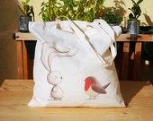 Canvas tote bag, Bunny Ciacio and Robin bird - Rabbit, Children illustration - Shopper, Every day Bag, Grocery, Natural Cotton, Eco friendly