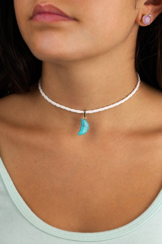 Turquoise Moon Braided Leather Choker