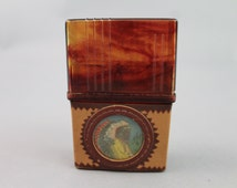 Native American Indian cigarette case/holder/box Vintage marbled tortoise plastic leather wrapped novelty smoking box/southwestern 70s boho