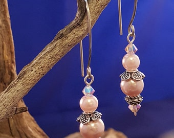 Gorgeous Pearl and Swarovski Crystal Earrings