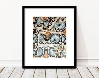 Spanish Tile Wall Art, Floral Pattern, Mosaic, Girls Room Decor, Bath, Bedroom, blue, Barcelona, Spain, Photography, Gaudi