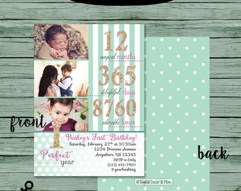 Girls 1st Birthday Photo Invitation, Digital File, 4X8 or 5x7