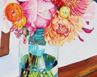 Flower in a vase watercolour - art print A2 sized