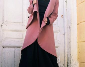 Ashes of Roses Cashmere Coat / Asymmetrical Long Jacket / Zipper Winter Coat / Maxi Collar Warm Coat by METAMORPHOZA