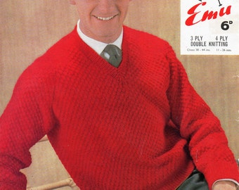 "Vintage mens sweater knitting pattern PDF mens v neck classic jumper pullover 38-44"" 3ply / 4ply / DK PDF instant Download"