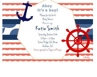 Printable Baby Shower Invitation / Nautical / Anchor / Red, White, Blue / Baby Boy Shower / MS Word Template, Instant Download