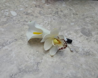 Real Touch White Calla Lily and a Tropical White Cymbidium Orchid Boutonnieres & BOX - MATCHING CORSAGE!