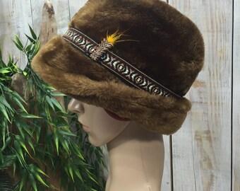 Yodeling Hat, Fur Hat, Yodle Hat, Oktoberfest Hat, Winter Hat, Vintage Yodeler Hat, German Hat, Bavarian Hat, Swiss Alpine