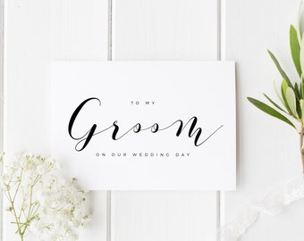To My Groom On Our Wedding Day, Groom Wedding Day Card, Calligraphy Wedding Card, Card For Groom Wedding Day, To My Groom On My Wedding Day