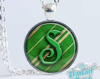 Slytherin necklace Harry Potter Jewelry Harry Potter pendant Hogwarts house, gift for reader, gift for potterhead, gift for book lovers