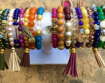 Stackable beaded bracelets