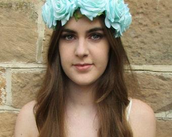 Large Mint Green Aqua Rose Headband Flower Hair Crown Garland Festival Boho Z94