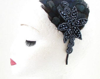 Navy Blue Black Lady Amherst Pheasant Feather Headband Fascinator Vtg 1920s 45