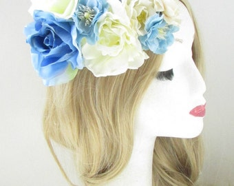 Light Blue Cream Ivory White Flower Fascinator Headpiece Races Wedding Floral 72