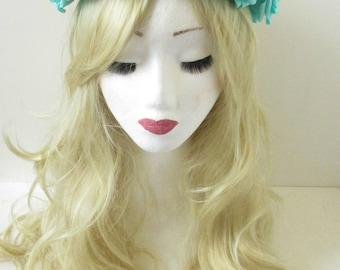 Large Turquoise Rose Flower Headband Sugar Skull Hair Crown Halloween Vtg P88