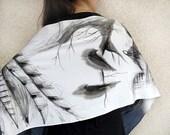 OWL silk scarf hand painted, Black and White Silk Satin Scarf, Gray Silk Scarf handpainted, wing silk scarf, Bird silk scarf, totem animal