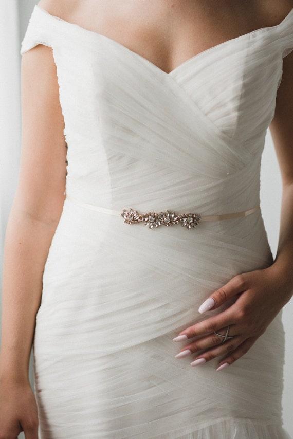 rose gold bridal sash petite rose gold crystal wedding sash