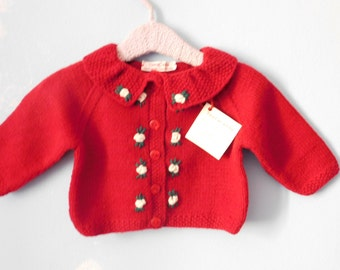 Sweater girl 6/9 months red cherry with white flowers