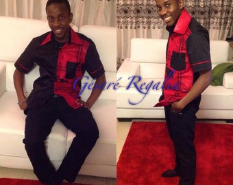 Men's shirt, Black and Red African print