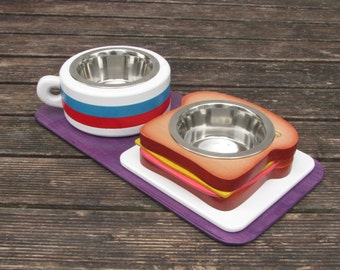 TOAST & COFFEE S (light) - elevated pet dish - raised pet feeder - dog bowl stand - cat bowl holder - pet food feeder - pet feeding station