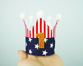 US Flag crown, Birthday crown, party crown, birthday headband, 4th of July crown, birthday hat, baby crown