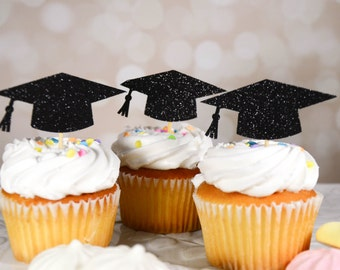 Graduation Hat Cupcake Toppers - Graduation Party - Graduation Party Decor - Congratulations - Cupcake Toppers