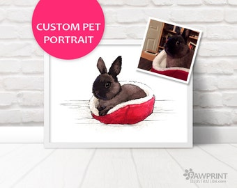Rabbit Portrait custom pet portrait printed digital pet portrait of your bunny rabbit - Custom nursery gift for rabbit lovers, memorial gift
