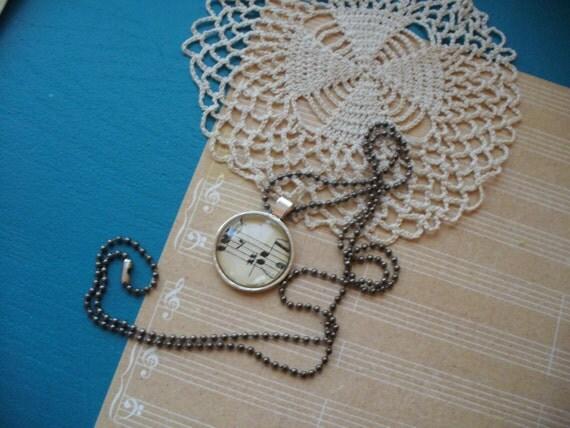 Vintage Sheet Music Necklace, Music and Dance, Re-Purposed Necklace, Music Note Necklace, Musical Necklace, Sheet Music, MarjorieMae