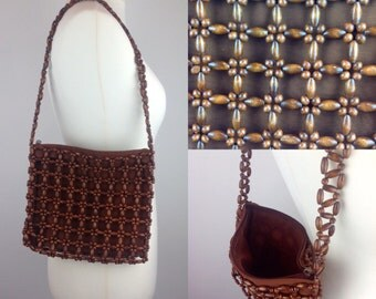 Vintage 90s 70s Wooden Bead Handbag Purse Retro Cool Marks And Spencer British