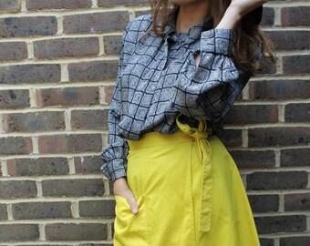 80s vintage retro yellow apron tie midi skirt