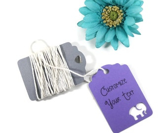Elephant Baby Shower Tags Set of 20 - Personalized Purple Favors - Custom Purple Shower Gift Tags - Neutral Baby Shower Wish Tree Ideas