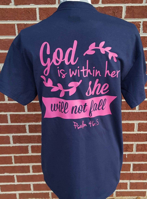 Monogrammed She Will Not Fall Shirt. Scripture Tee.