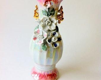 Vintage Lusterware Pink And Gold Vase / Lusterware Vase / Luster Ware Vase / Small Vase / Bud Vase / Pink And White Vase / Vintage Vase