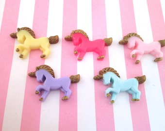 Assorted Unicorn Cabochons with Gold Manes, #618A