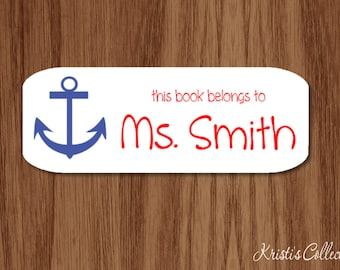 This belongs to Labels Stickers - Custom Personalized Back to School Gift - Nautical Anchor Preppy Teacher Gifts - This book belongs to