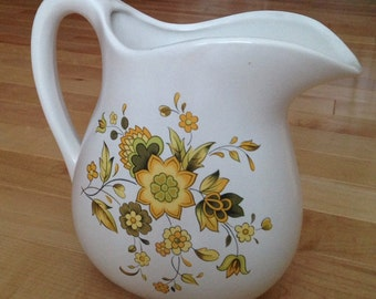 McCoy Pottery USA #365 Milk Pitcher ~ Ceramic Vase with Yellow and Green Flowers ~ 1970 Style Floral Small Pitcher ~ Retro Kitchen Decor